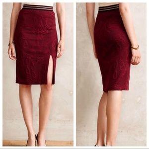 Anthropologie Maeve Burgundy Jacquard Skirt